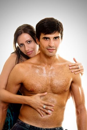 amore: Woman embraces and caresses her lover or husband. Stock Photo