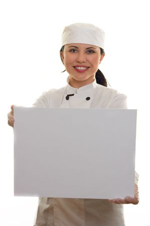 imagery: Chef or Cook holding a blank message board or menu.  Blank, ready for text or other imagery. Stock Photo