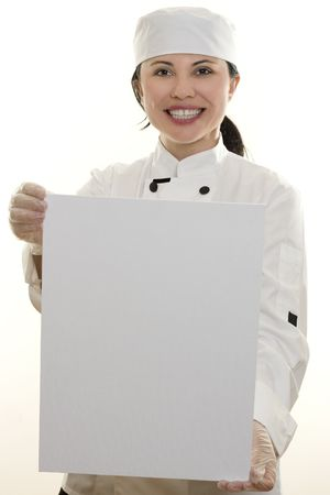 Chef with sign, message, or menu board photo