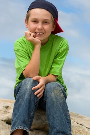 contented: Smiling contented child Stock Photo