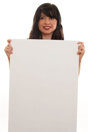 endorsement: Advertise, Endorse or Protest.   A woman with blank sign ready for text or imagery.eg advertising, sales, endorsement, marketing, protest, Stock Photo