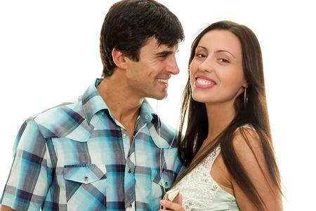 Happy heterosexual couple having fun, big smiles. photo