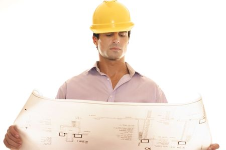 construction draftsman: Nothing is more essential in the construction industry than reading and understanding a variety of blueprints. Blueprints are exact detailed scaled drawings of plans of a home, building, or other structure. Stock Photo