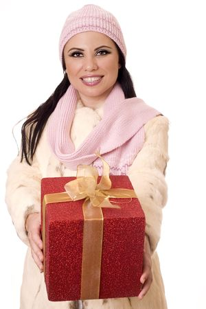 Smiling female holding a large birthday gift, velentine or Christmas present Stock Photo - 454429