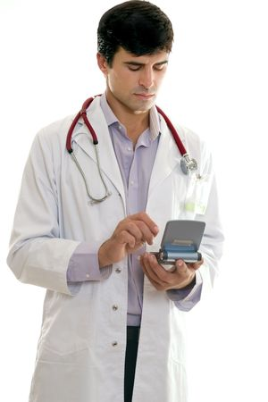 hard drive: Doctor or healthcare worker using portable hard drive to access medical software.