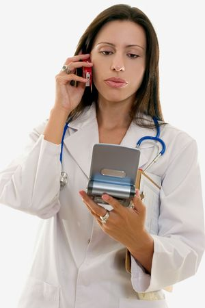 relating: Doctor or nurse relating information over the phone.