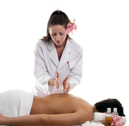 A masseuse performing hacking on a male customer.