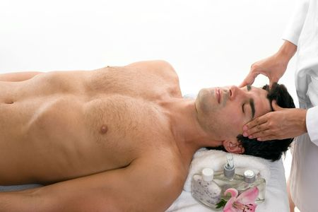 beauty parlour: Male having a relaxing head massage
