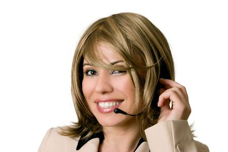 enquiry: Smiling female help desk personnel or telesales operator