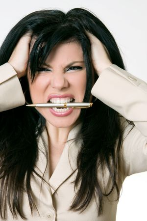 cranky: Business Rage - Overworked and over it! Stock Photo