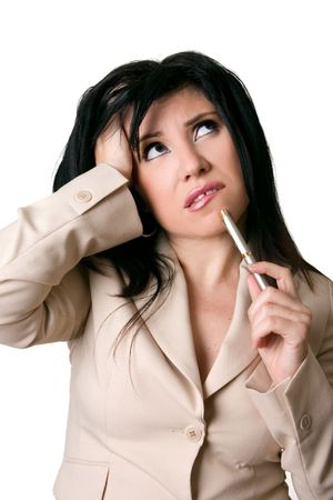 business dilemma: Business Dilemma - A woman with an overwhelmed, worried or confused expression looks up.