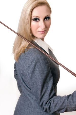 Equestrian rider in grey pinstripe equestrian jacket. photo