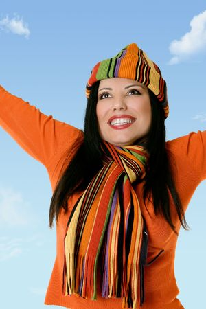 rejoicing: Vibrant woman emotionally charged rejoicing at lifes blessings.