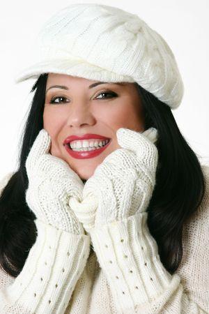 Fun fashionable female in winter warm knits. photo