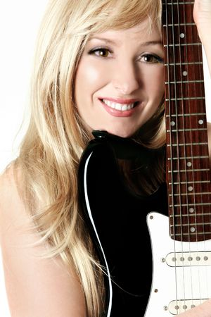 Female musician resting with her guitar Stock Photo - 551378