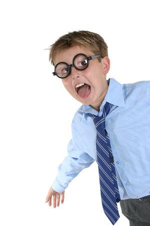 geeky: Wacky geeky child full of energy having fun