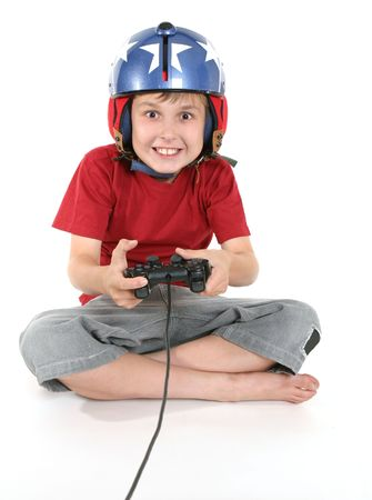 engrossed: Happy child playing a flight game. Stock Photo