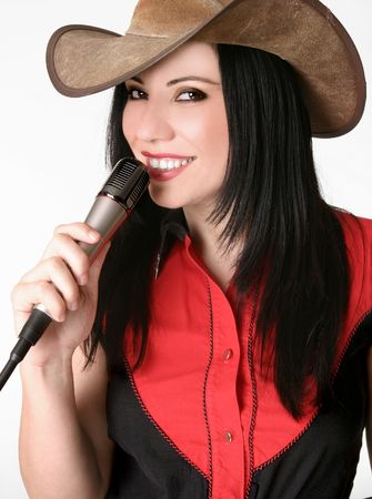 female singer: A friendly woman wearing country attire