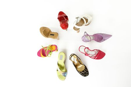 footwear: Circle of coloured womens shoes
