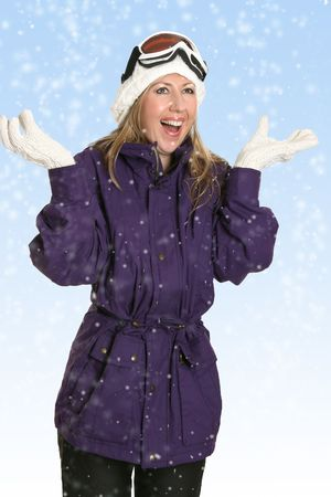 Happy woman enjoys the fresh snowfall Stock Photo - 625921