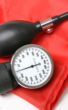 blood pressure gauge: Blood pressure gauge, pump and cuff closeup Stock Photo