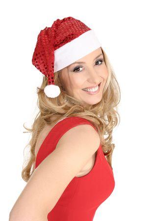 vivacious: Vivacious smiling woman celebrating Christmas