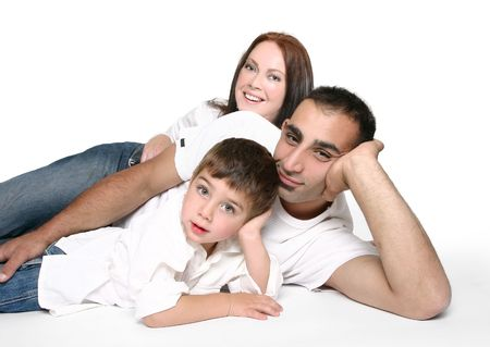 Casual family in jeans resting on the floor. Stock Photo - 663720