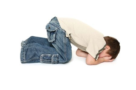 temper: Child sulking or throwing a tantrum.
