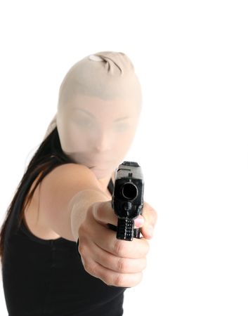 An armed gunman demands some cash in a robbery. Stock Photo - 714503