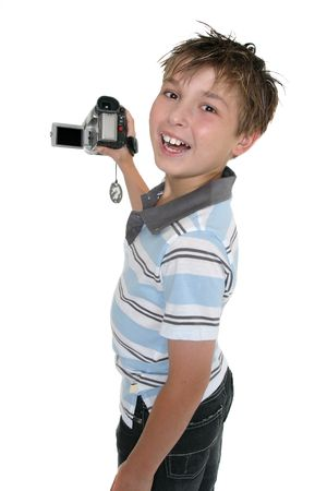 Child showing some video capture on the playback screen photo