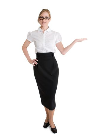 demonstrating: Businesswoman with hand outstretched demonstrating or showcasing a product.