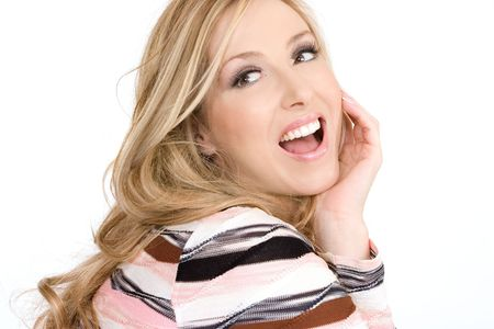 loose hair: Happy joyful woman wearing makeup and with hair loose and wavy.