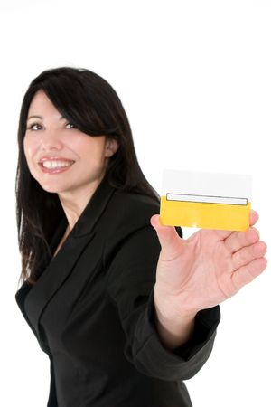 privilege: Beautiful smiling woman holding a membership card, bank or credit card, business card etc. Stock Photo