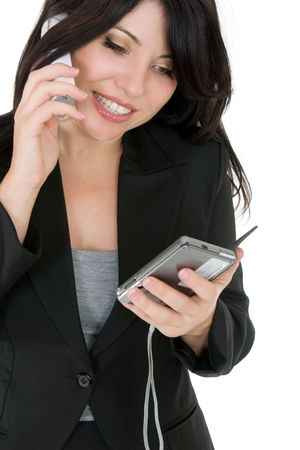 courteous: Courteous businesswoman phoning a client or other person.