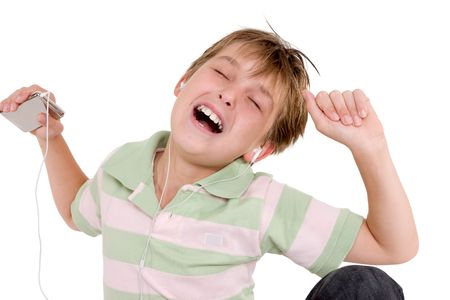 audiophile: A child enjoying music on an mp3 player