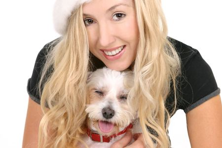 Happy female cuddling a small white maltese terrier Stock Photo - 960181