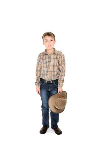 akubra: Country boy in jeans and check shirt holding a leather hat. Stock Photo