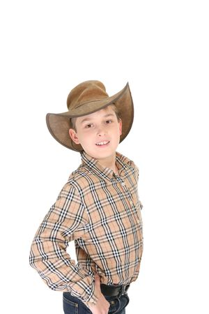 akubra: A confident cowboy in shirt, jeans and leather cowboy hat