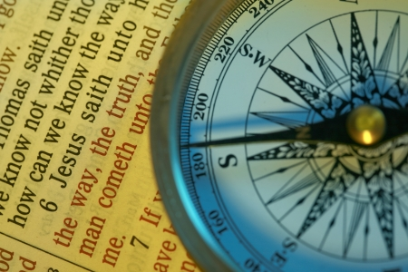 A compass points in the direction of  and verse John 14:6 I am the way the truth and the life..... Stock Photo - 1446881