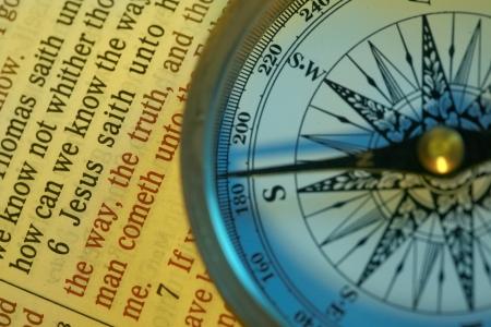 Kompas punkty w kierunku i werset Jana 14:6 Ja jestem drogą prawdą i życiem .....