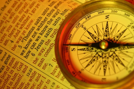 How can we know the way?   said, I am the way the truth and the life.....   A compass points to  and the popular New Testament bible verse John 14:6  Focus to verse 6.  photo