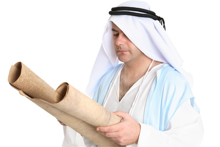 Biblical man reading scroll on gevil parchment photo