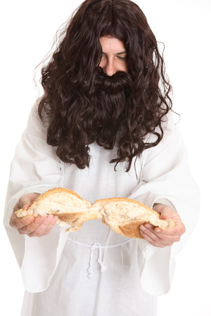 eternal life: And Jesus said unto them, I am the bread of life: he that cometh to me shall never hunger; and he that believeth on me shall never thirst.  John 6:35.  Jesus is spiritual bread from heaven, which was foreshadowed earlier in the manna from heaven.   Jesus  Stock Photo