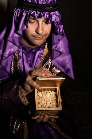 wisemen: Magi with a  golden box filled with Frankincense.   Frankincense is the hardened resin of the Boswellia tree. This is frankincense from Omani which is said to be the best in the world.  Has a beautiful spicy warm citrusy long lasting aroma.  Focus to fran