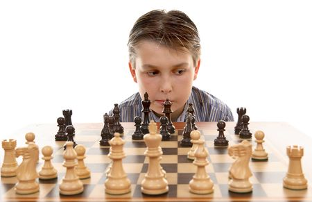 bishop chess piece: Evaluating the players next move Stock Photo
