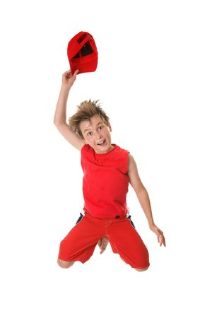 to woo: Woo Hoo!  A jubilant enthusiastic boy leaps into the air having fun