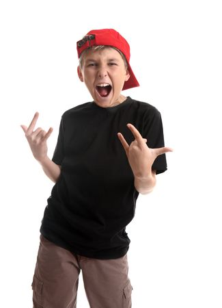 unrelated: Revved up boy doing a typical coma hand signal which has many various unrelated meanings depending on culture but was popularised in music by a heavy metal band to symbol  rock n roll.  Source of facts,  wikipedia Stock Photo