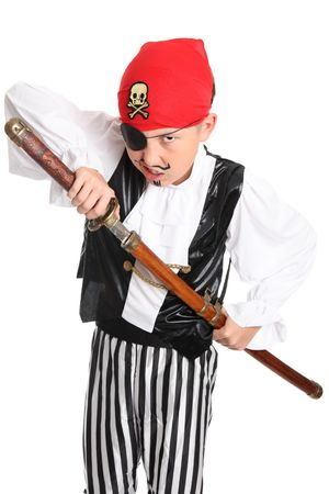 scheide: Snarling Piraten zieht ein Schwert aus seiner Scheide