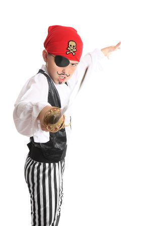 swashbuckler: Pirate weilding a sword battles for his ill-gotten riches.  Focus to boy, sword is not in focus