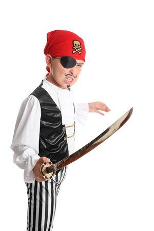 criminal defense: A swashbuckling pirate brandishing a long sword. Stock Photo